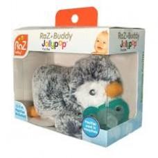 RaZ-Buddy Grey Penguin - PLUSH PACIFIER HOLDER + FREE Jollypop