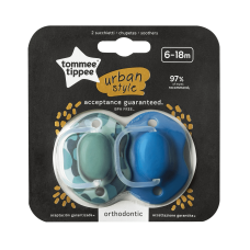 Tommee Tippee Urban Style Dummy Pacifiers 6-18 Mon Blue / Green